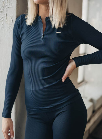 Aim'n Ribbed Zip Long Sleeve - Navy