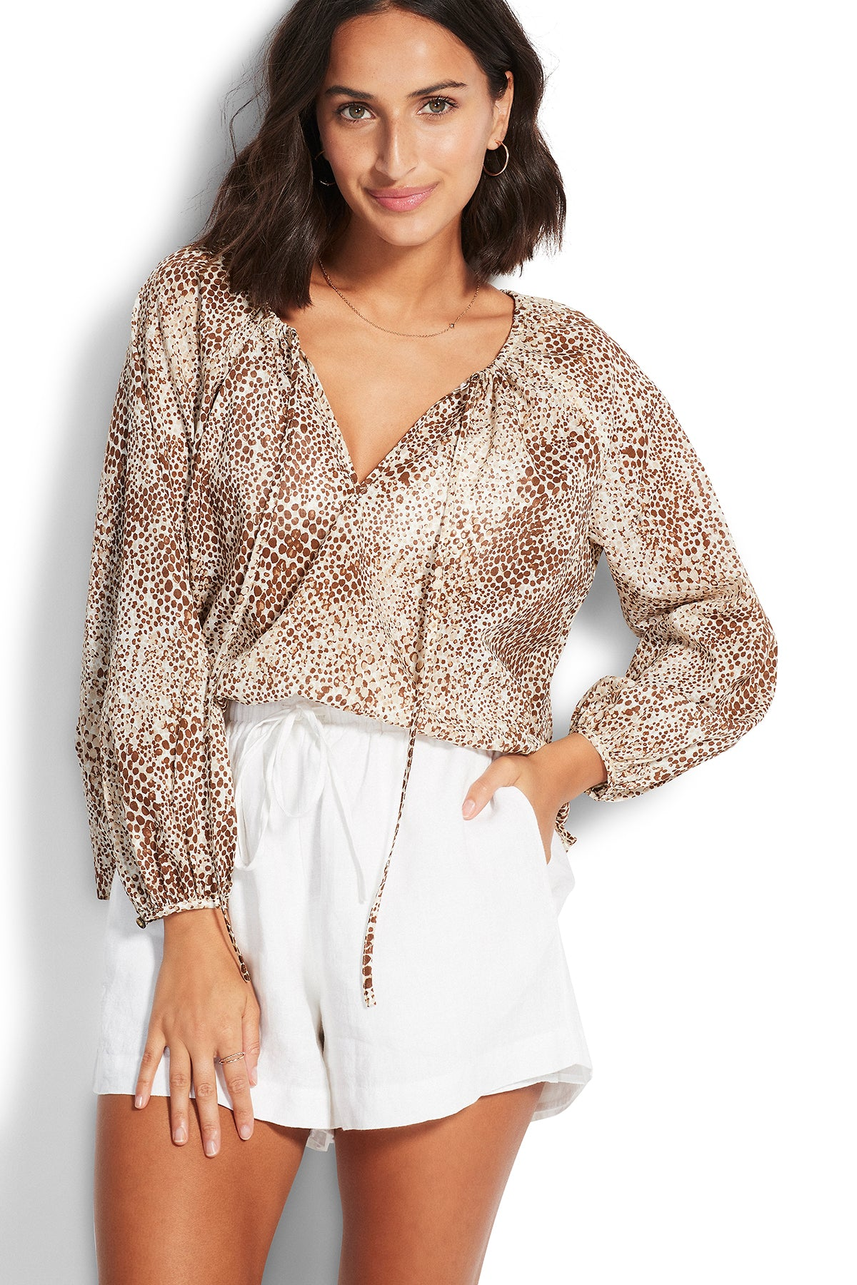 Seafolly Serpentine Boho Top - Chocolate