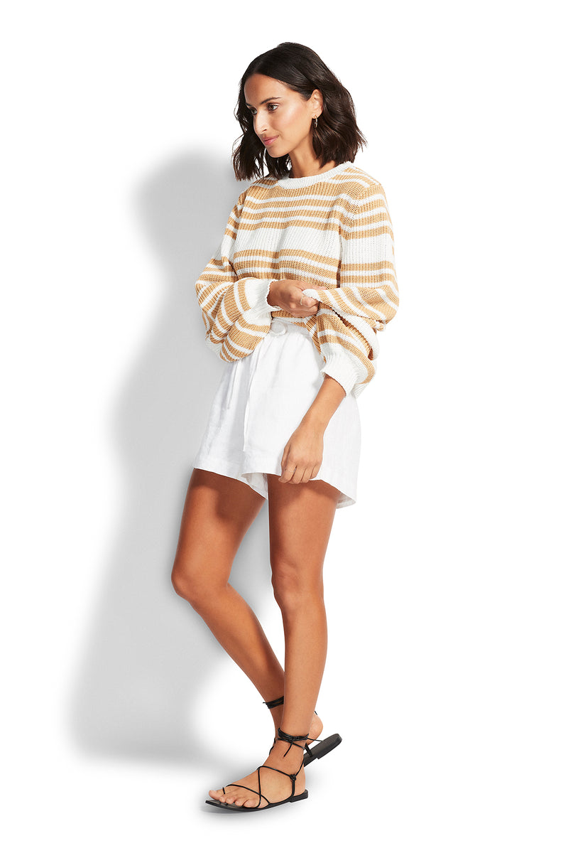 Seafolly Sails Stripe Knit - Beige