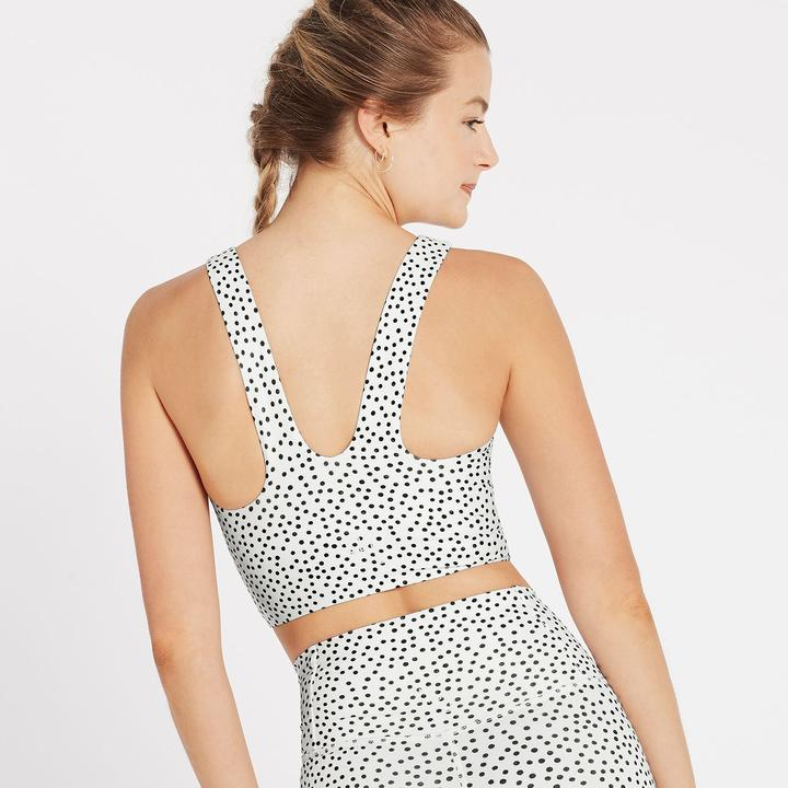 Scoop Back Longline Bra - Polka White