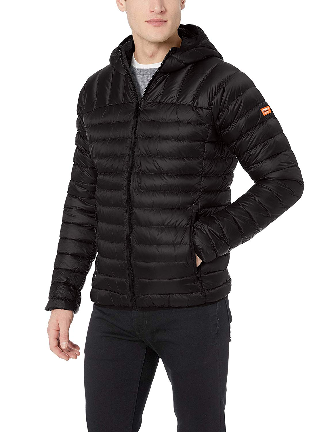 Mens Core Down Hooded Jacket - Black