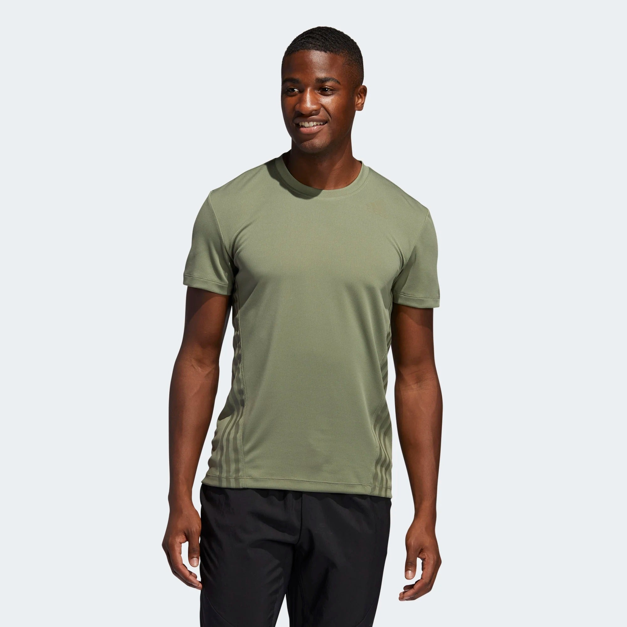 Adidas Mens Aeroready 3 Stripes Tee - Legacy Green