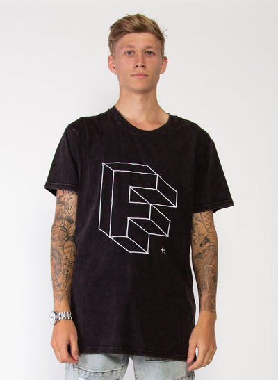 Mens Aye Tee - Penrose - Washed Black | Buy Federation Online at GOALS