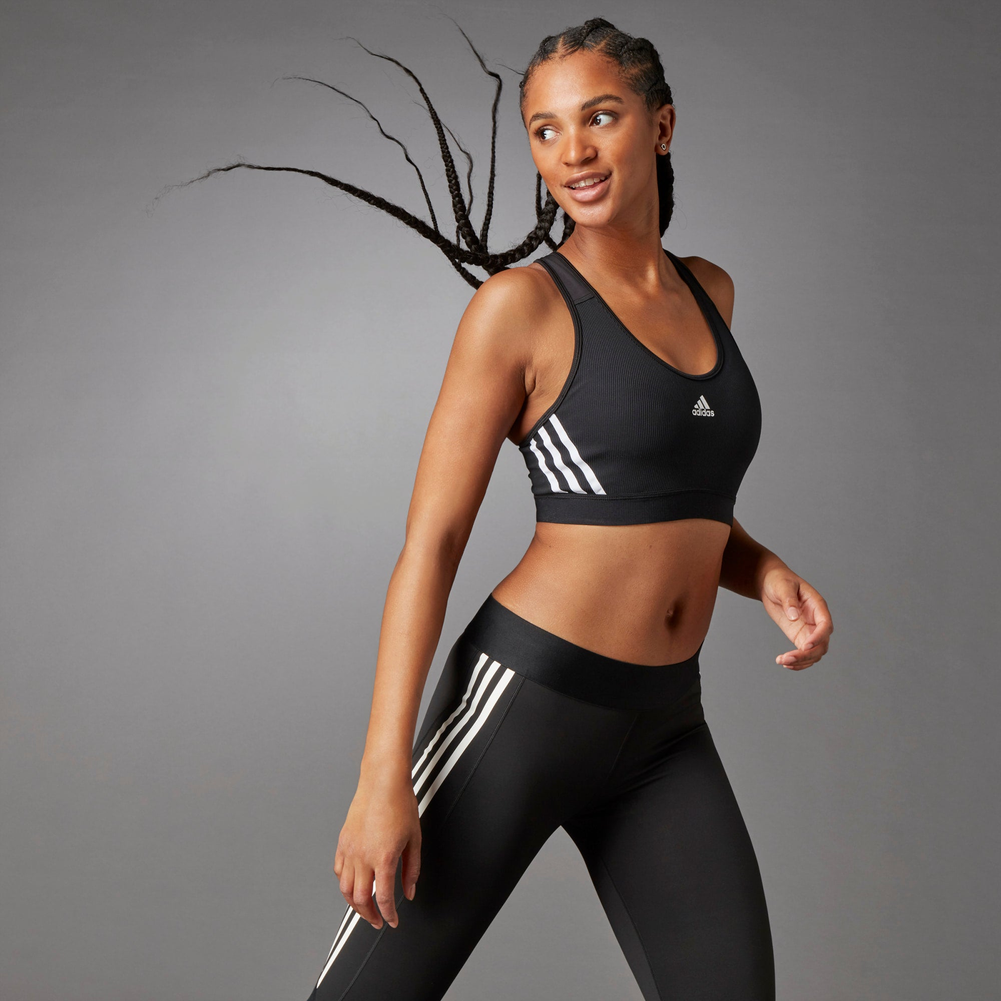 Adidas Believe This 3-Stripes Ribbed Bra - Black