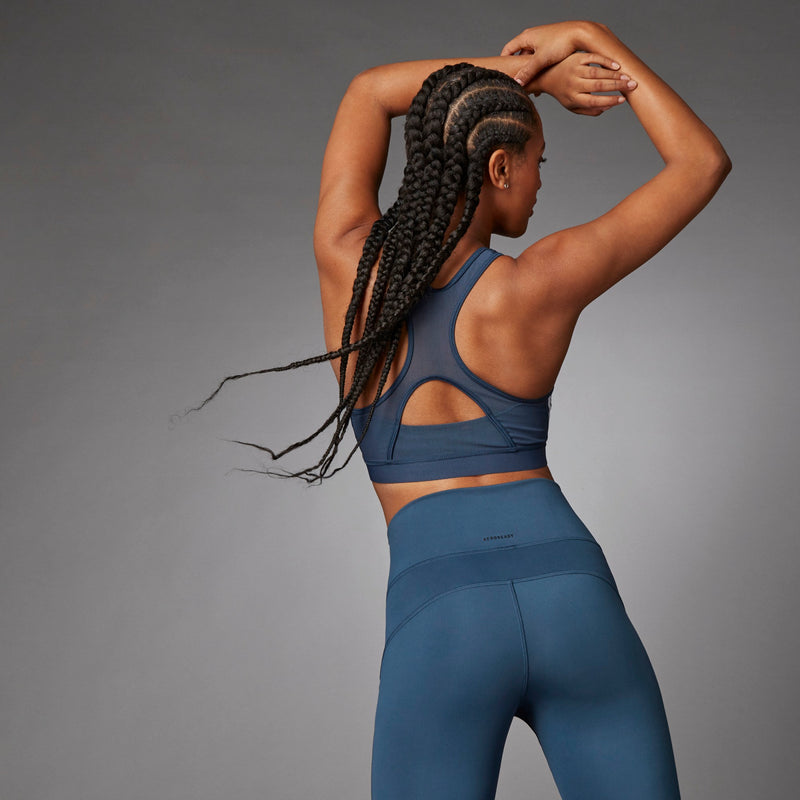 Adidas Believe This 3-Stripes Ribbed Bra - Crew Navy
