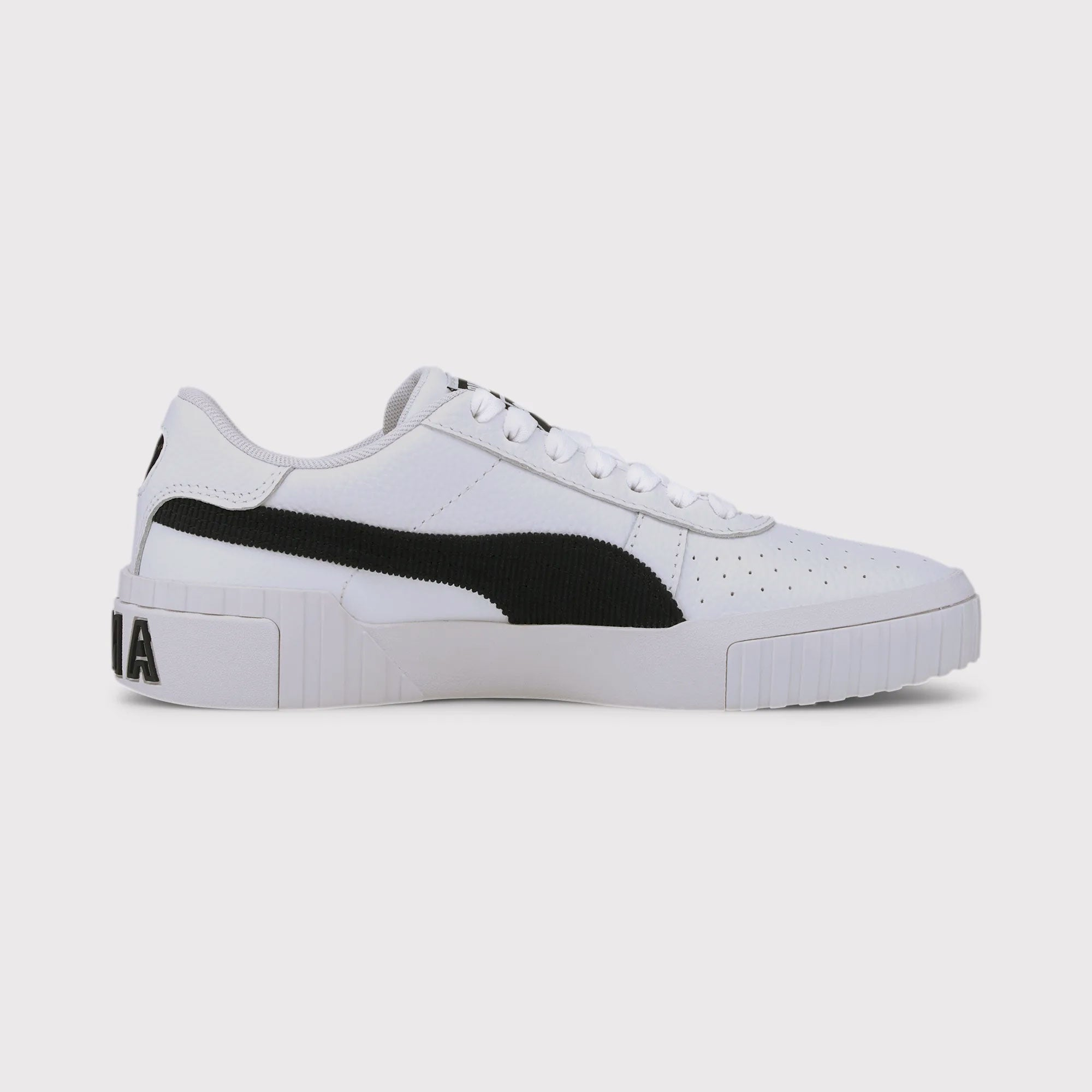 Puma Womens Cali Corduroy Sneakers - White/Black
