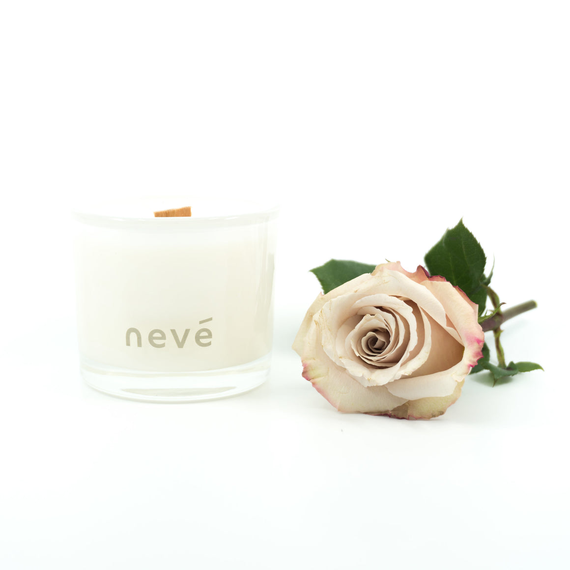 Nevé Candle Pink Peony Prosecco | Buy Scented Wooden Wick candles GOALS
