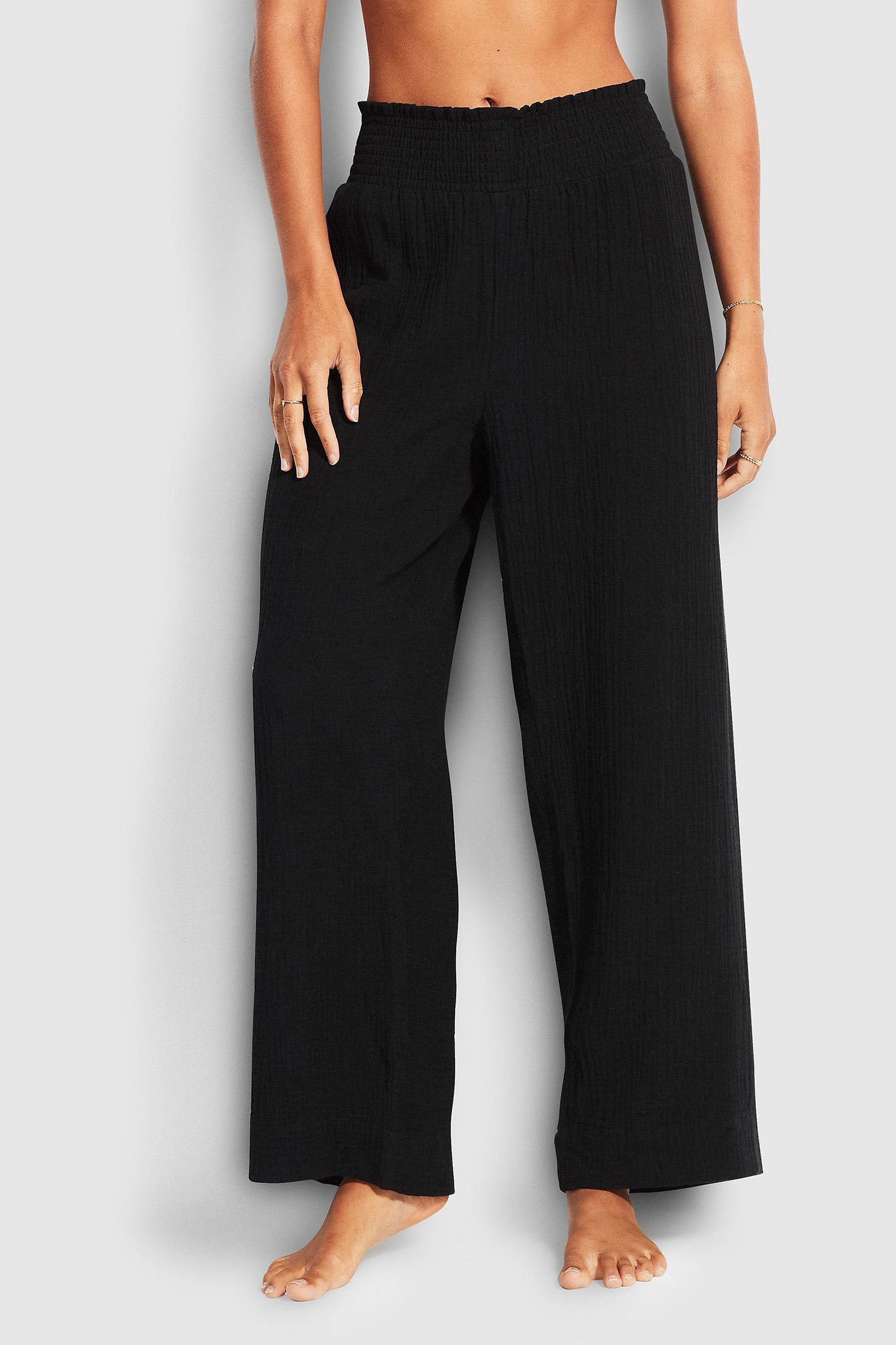 Seafolly Double Cloth Shirring Pant - Black
