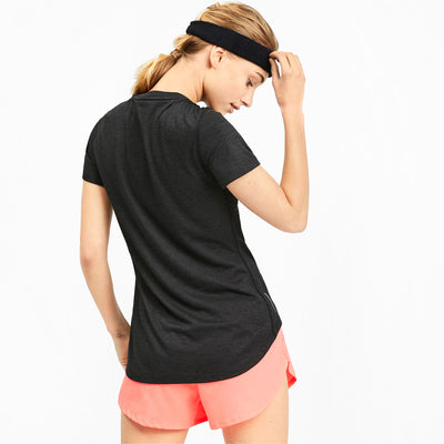 Womens Puma Ignite Heather SS Tee - Puma Black Heather