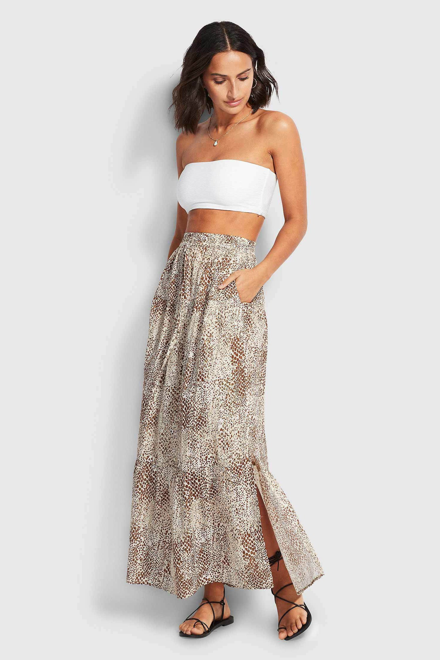 Seafolly Serpentine Tiered Skirt - Chocolate