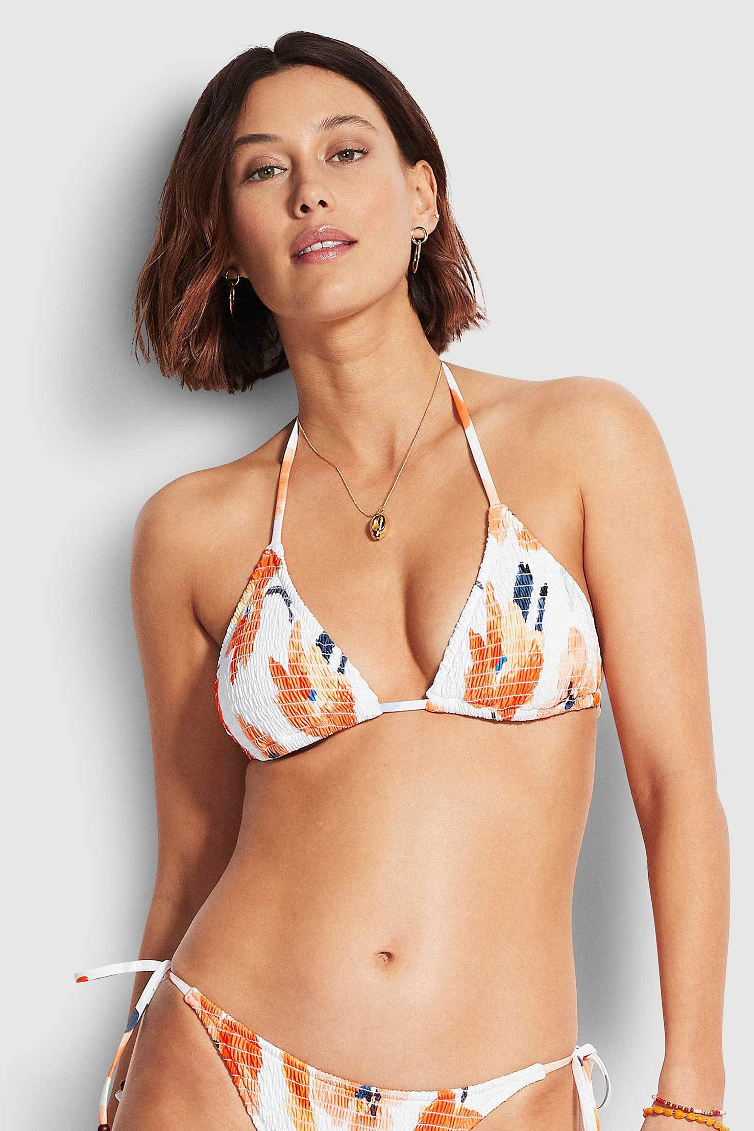 Seafolly Summer Memoirs Shirred Slide Tri - White