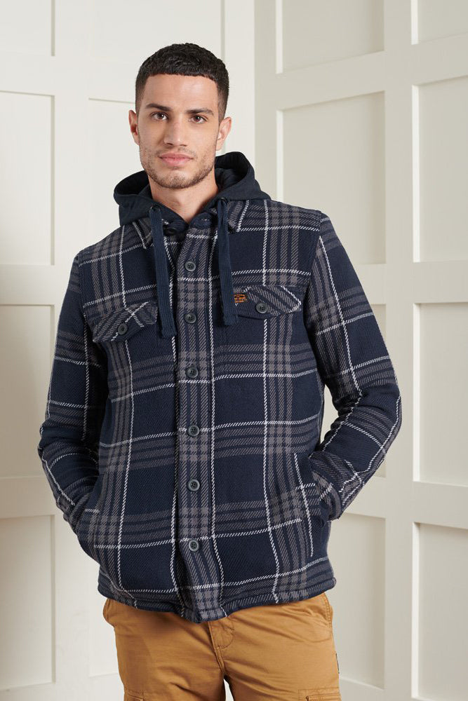 Superdry Mens Expedition Hoodie - Everest Navy Check
