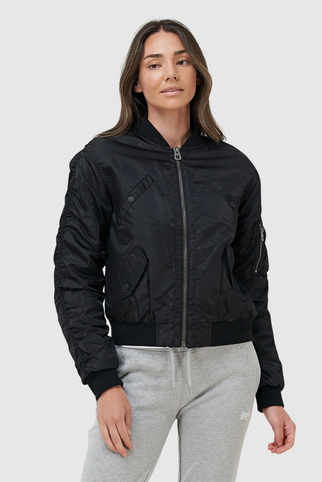 Womens Flight Bomber Jacket - Black