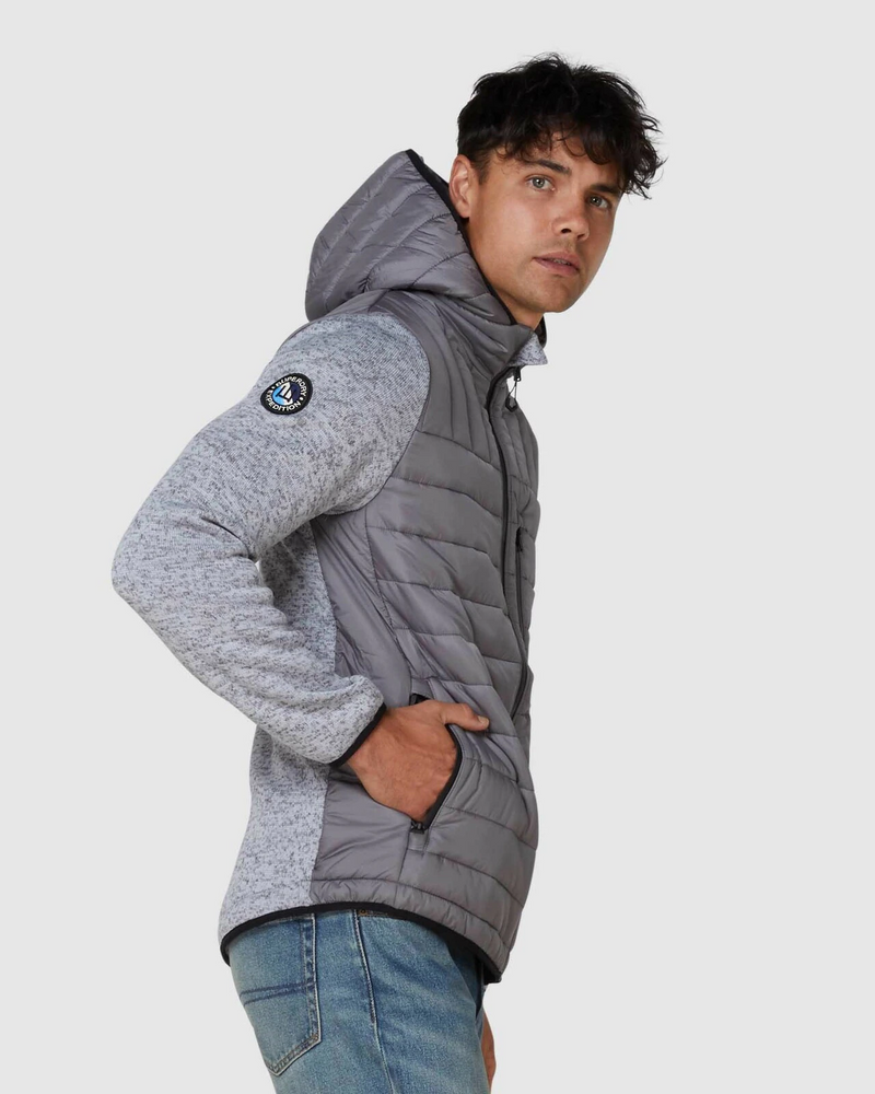 Superdry Mens Storm Hybrid Ziphood - Silver Heather Marl
