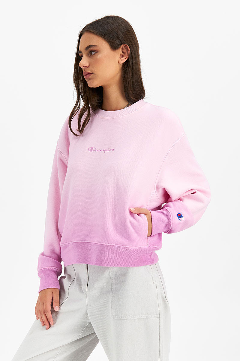 Reverse Weave Relaxed Ombre Crew - Paper Orchid