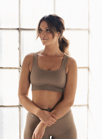 Aim'n Ribbed Seamless Bra - Espresso | Shop AIM'N Sportswear at GOALS NZ