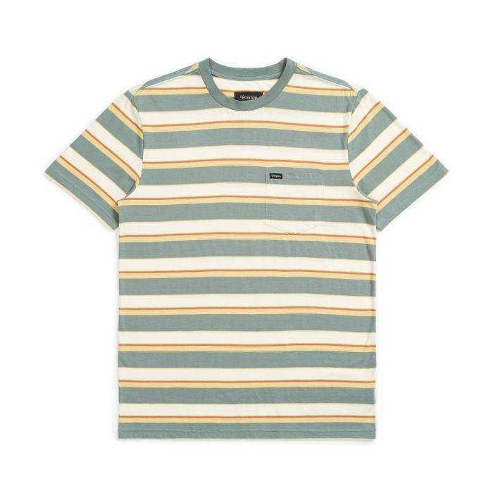 Brixton Men's Hilt Mini Stripe S/S Knit - Cypress