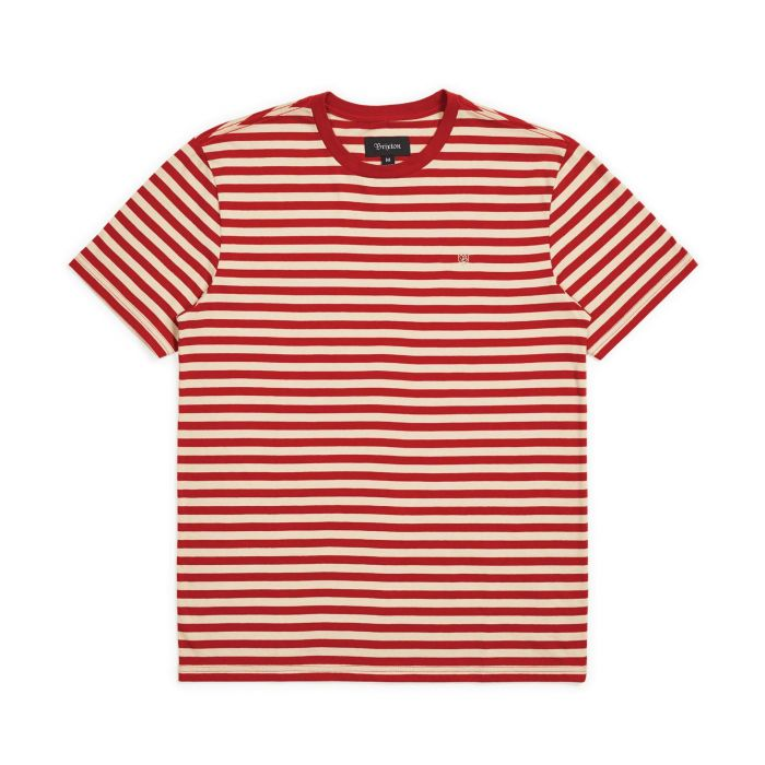 Brixton Men's Hilt Mini Stripe S/S Knit - Vanilla/Cardinal