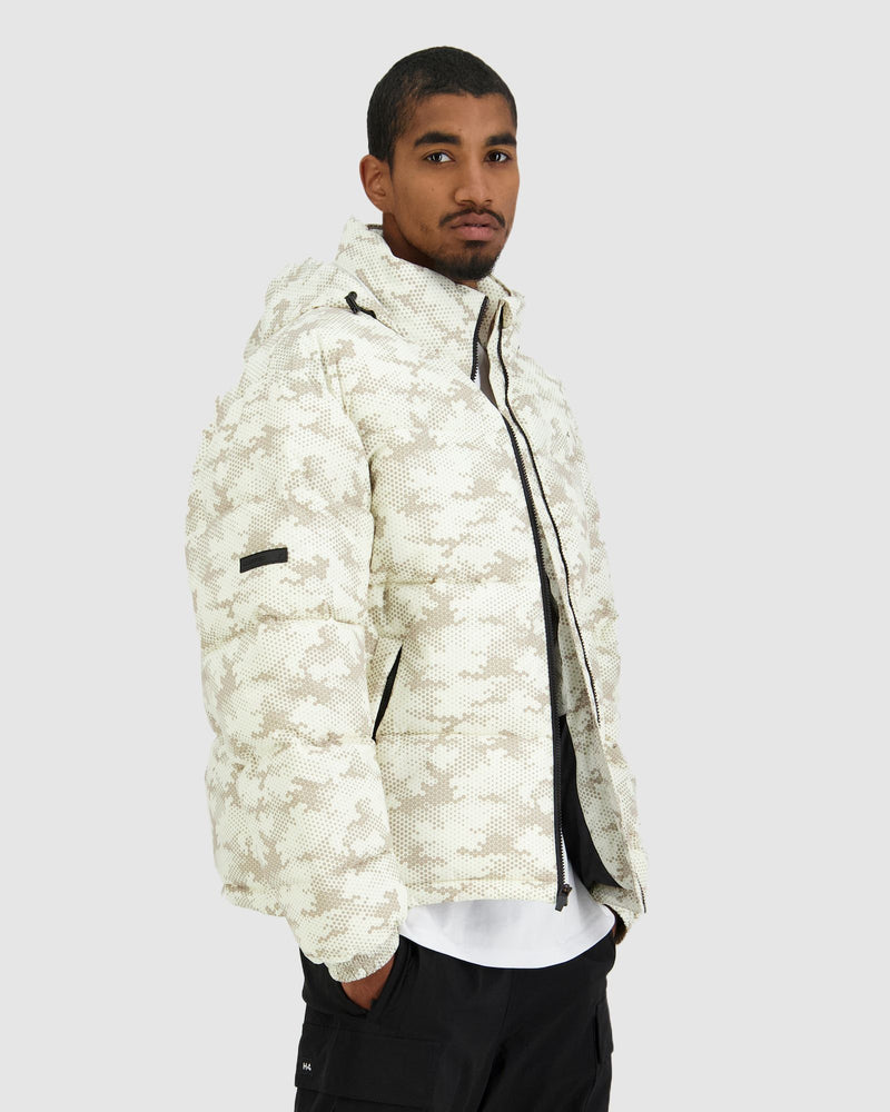 Huffer Mens No Comply Puffer Jacket - Sand Camo