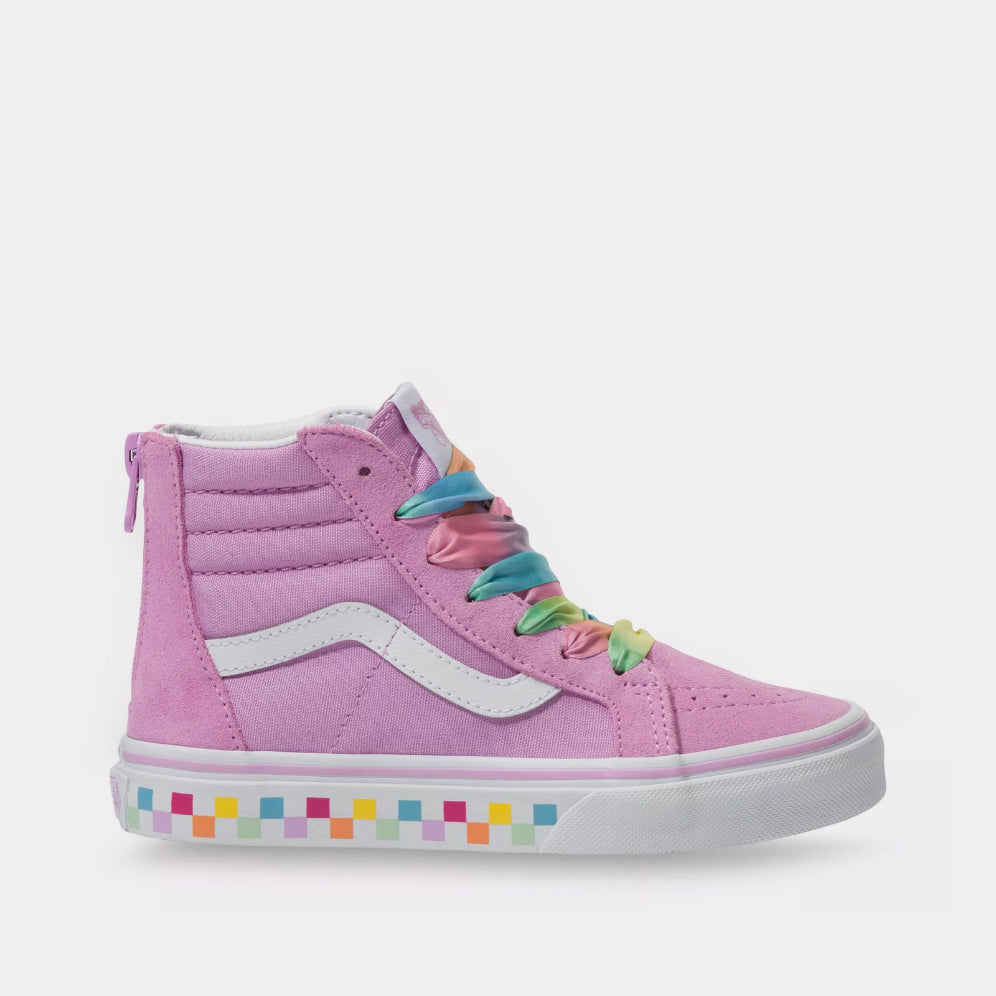 Vans Kids Sk8-Hi Zip (Rainbow Laces) - Orchid/White