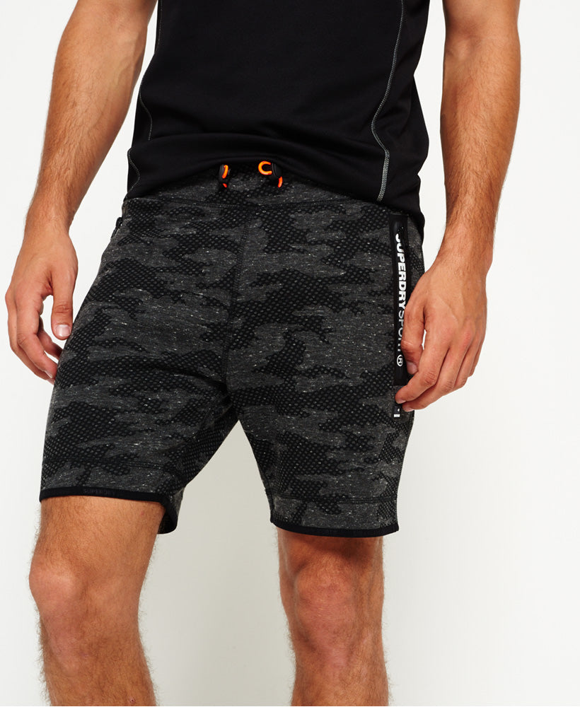 Mens Gym Tech Slim Short - Ash Granite Camo