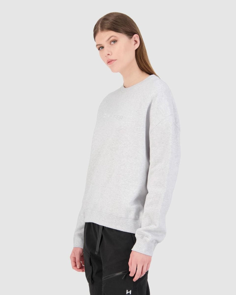 Huffer Womens Premiere Crew - White Marle