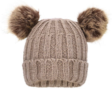 Sherpa Lined Cable Knit Beanie with Faux Fur Pompom Ears
