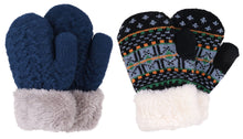 Arctic Paw 3 Pairs Kids' Sherpa Lined Knit Mittens Boys Girls Winter Gloves