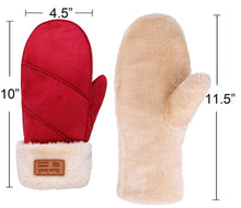 Arctic Paw Women's Faux Leather Sherpa Lined Faux Fur Cuff Winter Mittens