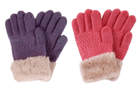 2 & 3 Pack Kids Touchscreen Winter Knit Gloves with Faux Fur Cuff