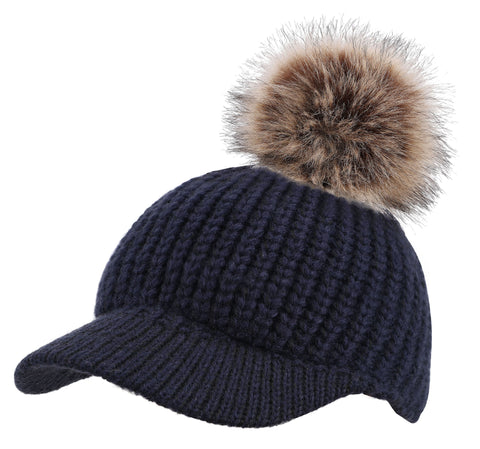 Arctic Paw Junior Cable Knit Beanie with Faux Fur Pompom and Brim Shade