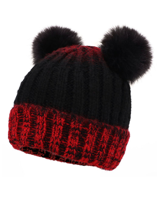 Arctic Paw Adults & Children's Cable Knit Ombre Beanie with Faux Fur Pompom Ears