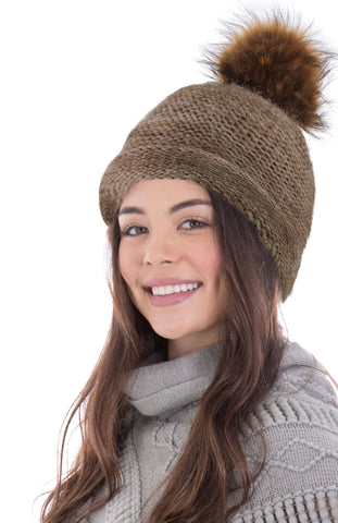 Arctic Paw Heathered Multicolor Knit Beanie with Faux Fur Pompom