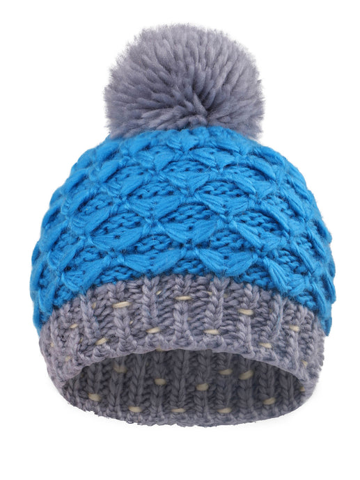 Striped Knit Beanie with Yarn Pompom By Arctic Paw, Blue