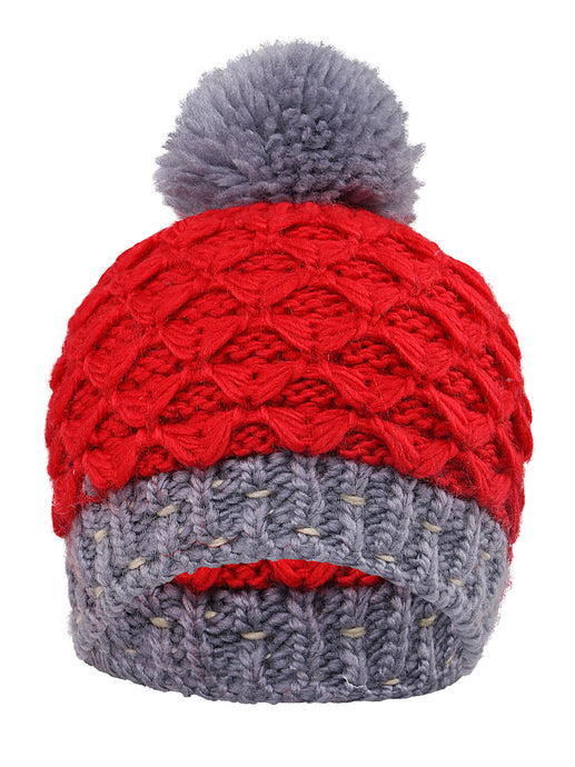 Striped Knit Beanie with Yarn Pompom By Arctic Paw, Red