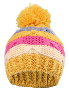 Arctic Paw Kids' Super Chunky Striped Knit Beanie with Yarn Pompom Hat, Yellow Striped