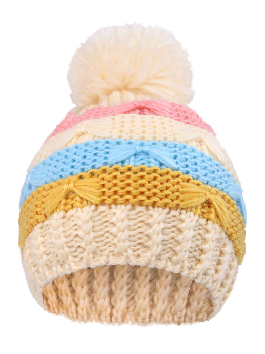 Arctic Paw Kids' Super Chunky Striped Knit Beanie with Yarn Pompom Hat, Cream Striped