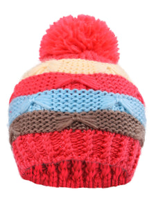 Arctic Paw Kids' Super Chunky Striped Knit Beanie with Yarn Pompom Hat, Red Striped