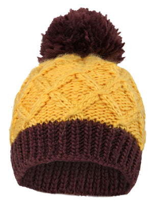 Arctic Paw Super Chunky Striped Knit Beanie with Yarn Pompom for Girls, Yellow