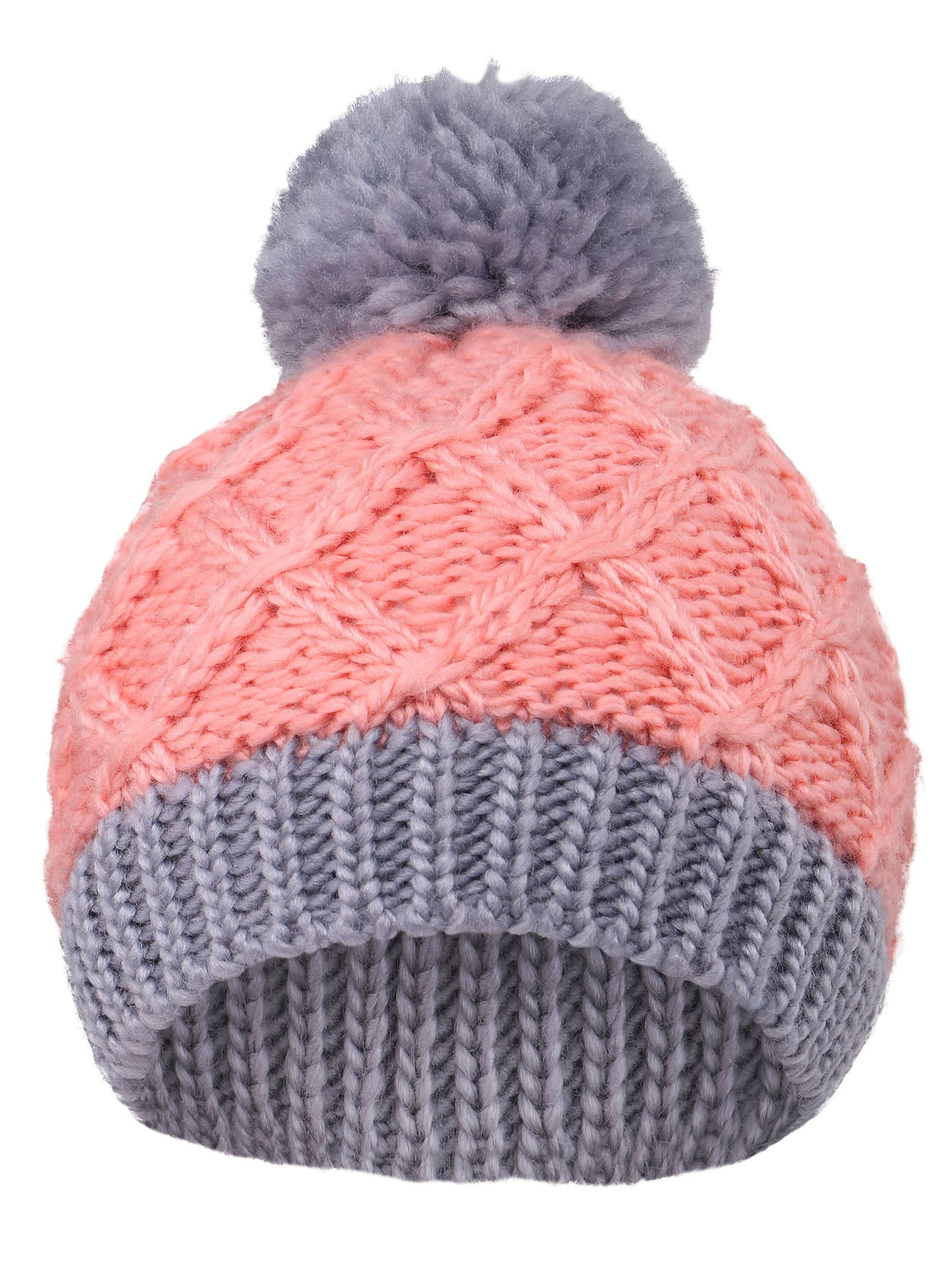 Arctic Paw Super Chunky Striped Knit Beanie with Yarn Pompom for Girls, Pink