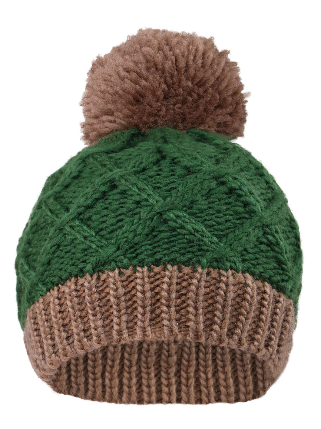 Arctic Paw Super Chunky Striped Knit Beanie with Yarn Pompom for Girls, Green