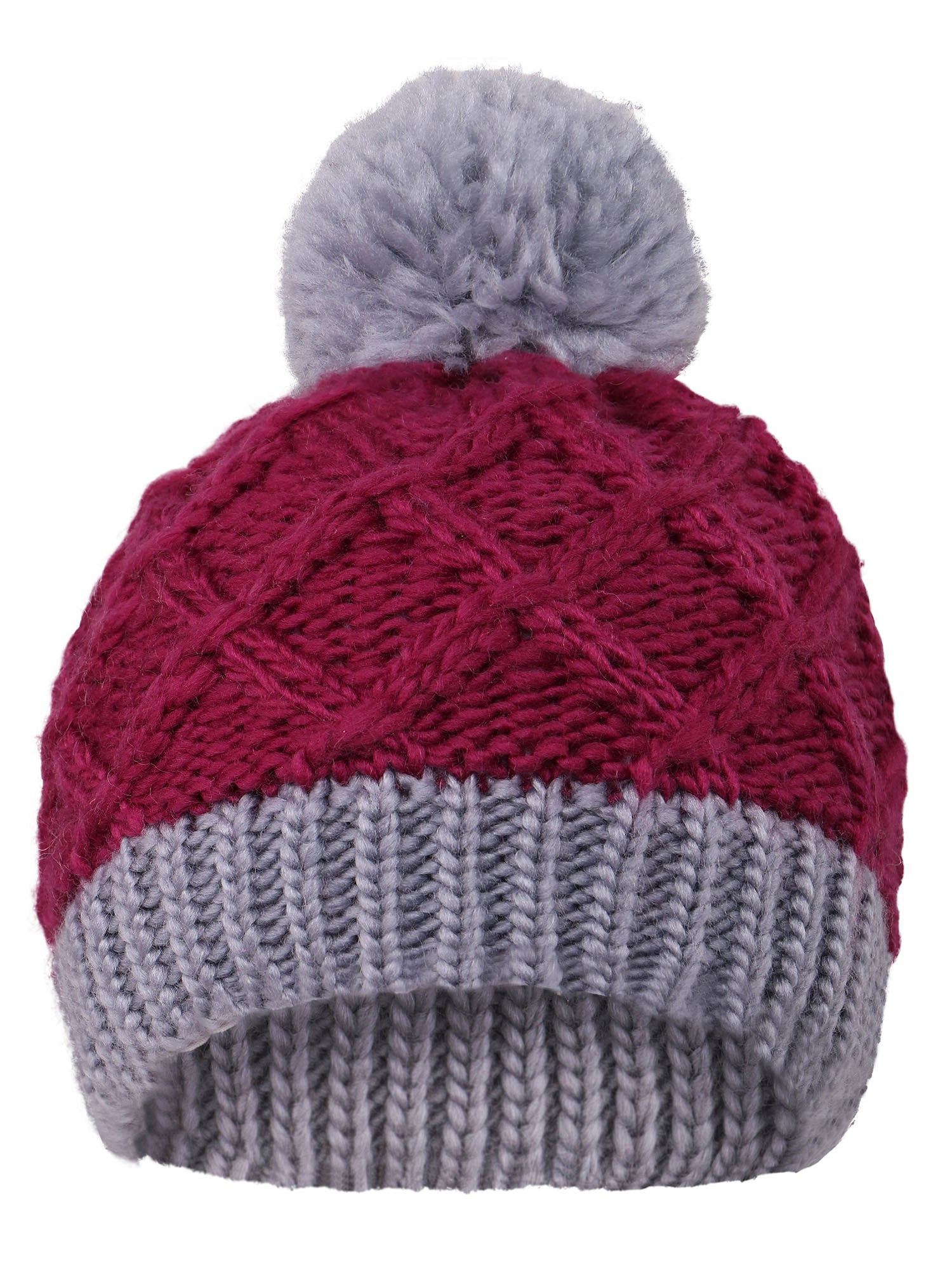 Arctic Paw Super Chunky Striped Knit Beanie with Yarn Pompom for Girls, Purple