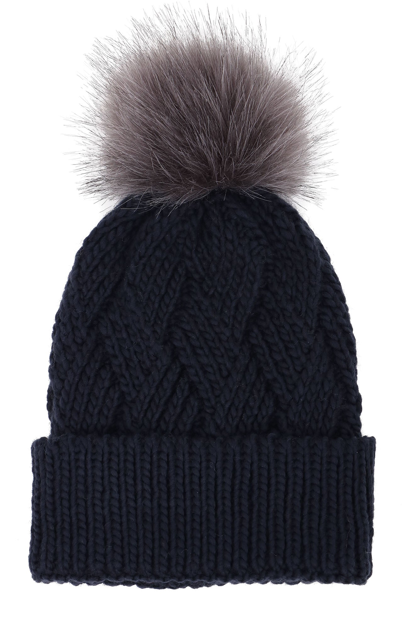 Arctic Paw Diamond Weave Knit Beanie with Faux Fur Pompom
