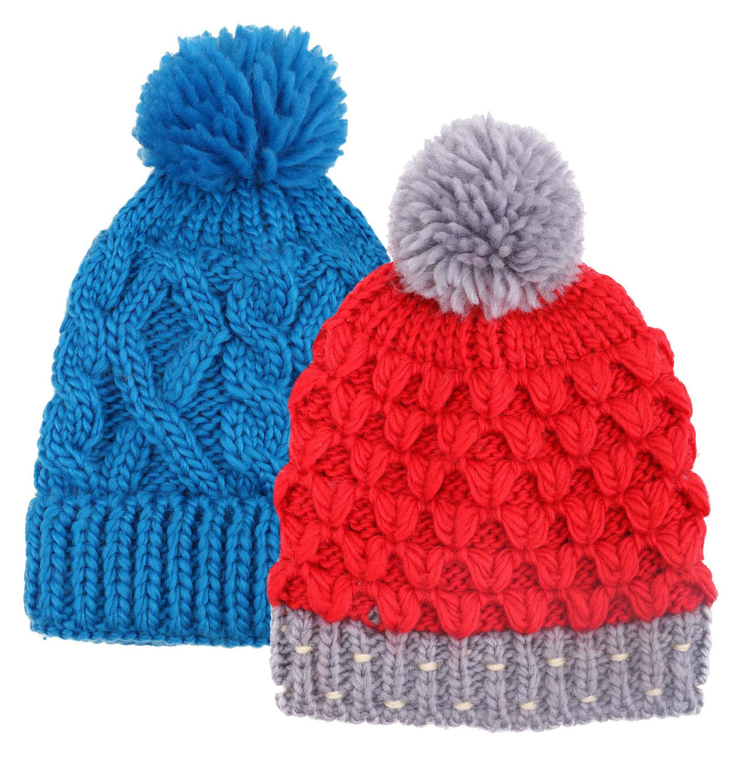 ARCTIC PAW Kids Chunky Cable Knit Beanie Winter Hat Ski Cap, Blue/Red