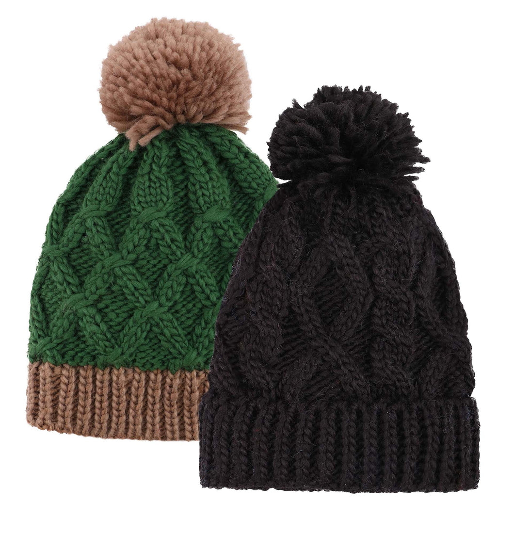 ARCTIC PAW Kids Chunky Cable Knit Beanie Winter Hat Ski Cap, Green/Black