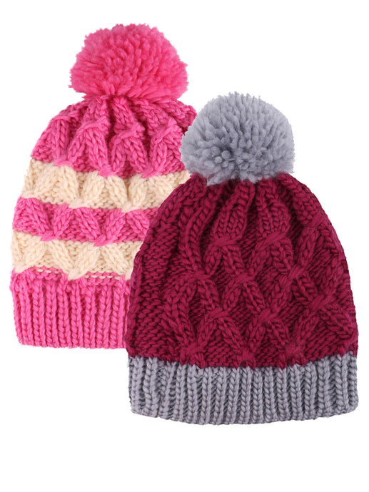 ARCTIC PAW Kids Chunky Cable Knit Beanie Winter Hat Ski Cap, Rose Stripe/Purple