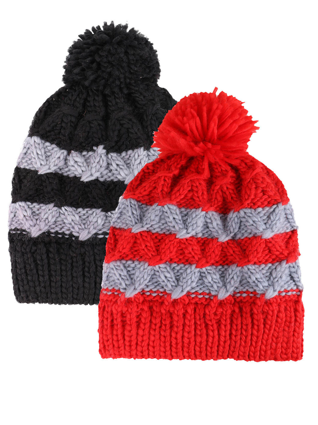 ARCTIC PAW Kids Chunky Cable Knit Beanie Winter Hat Ski Cap, Red Stripe/Black Stripe