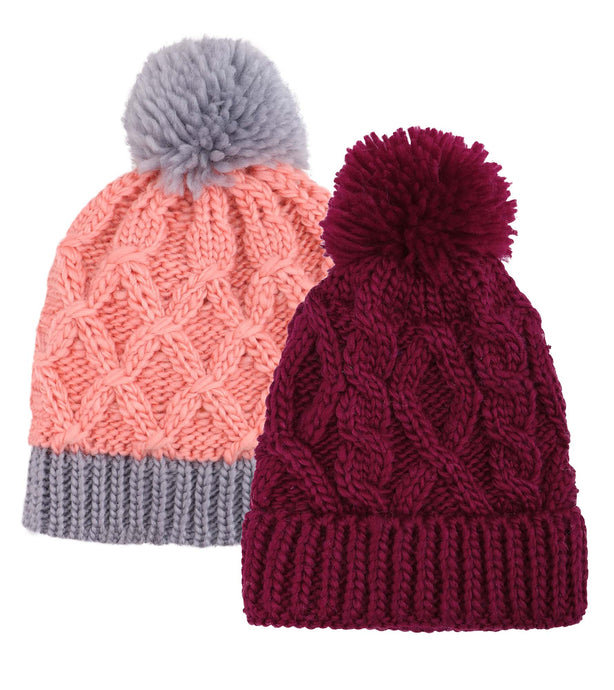 ARCTIC PAW Kids Chunky Cable Knit Beanie Winter Hat Ski Cap, Burgundy/Pink