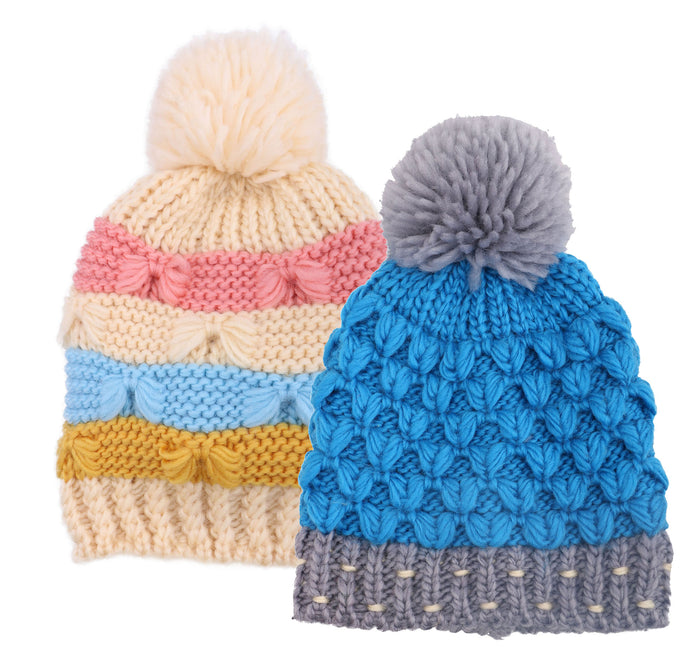 ARCTIC PAW Kids Chunky Cable Knit Beanie Winter Hat Ski Cap, Blue/Cream Stripe