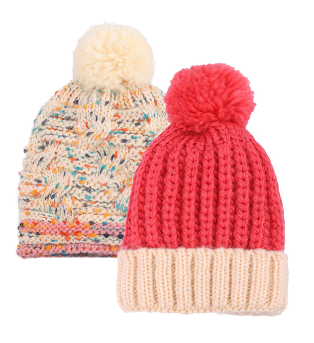 ARCTIC PAW Kids Chunky Cable Knit Beanie Winter Hat Ski Cap, Watermelon Red/Cream